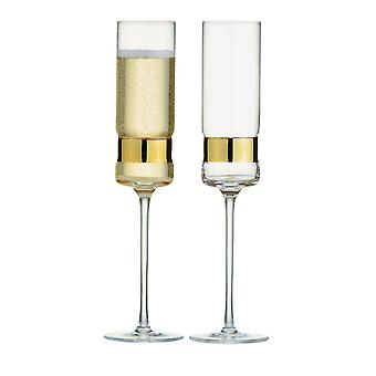 Anton Studio Soho Set von 2 Champagner Flöten, Gold