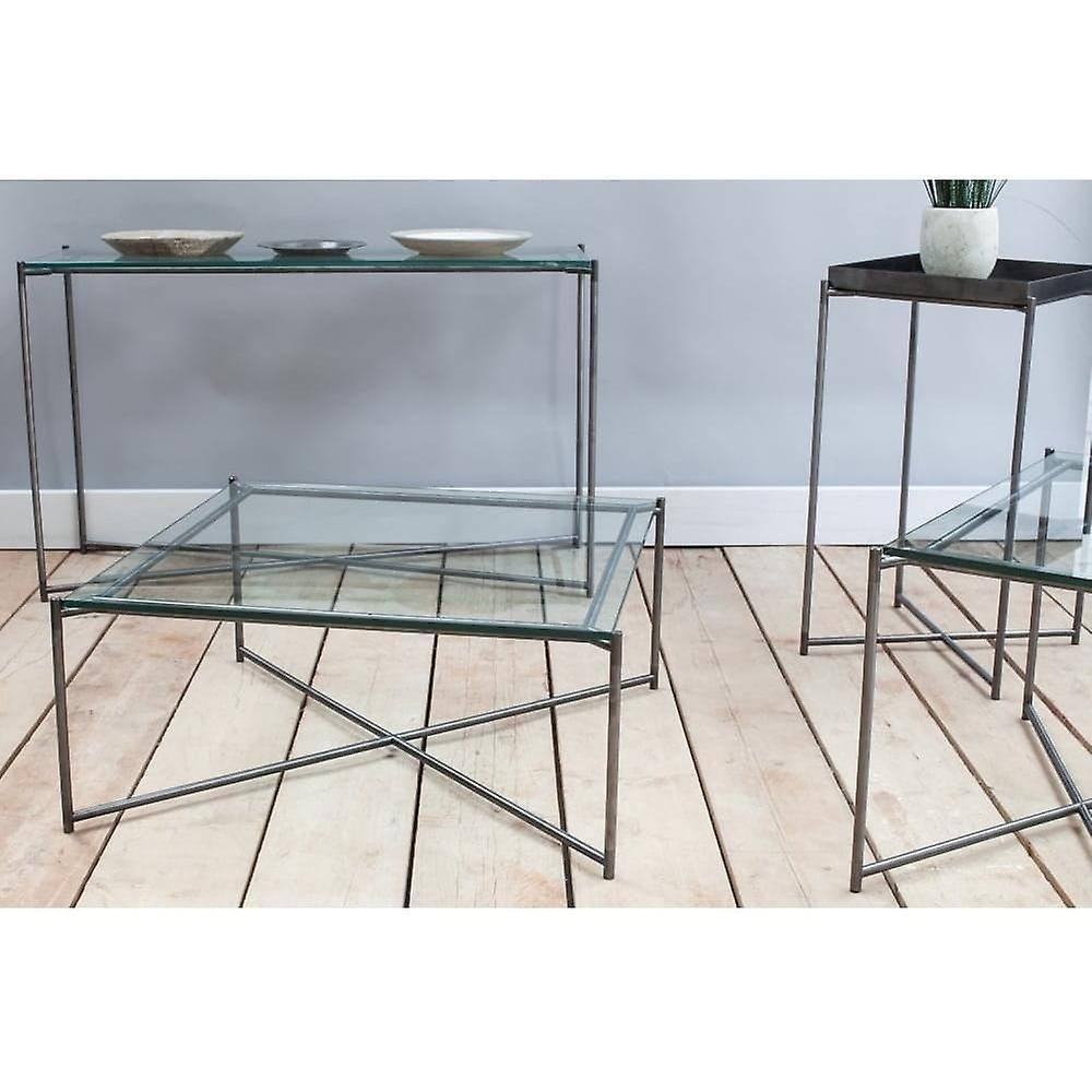Gillmore Antiqued Glass Square Lamp Table With Gun Metal Cross Base