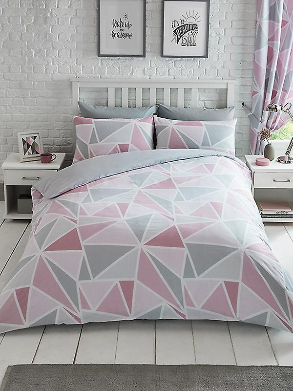 Metro Geometric Triangle Duvet Cover Set - Pink / Grey