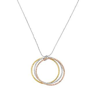 Eternal Collection Hypnotic Three Tone Gold Triple Ring Pendant Necklace