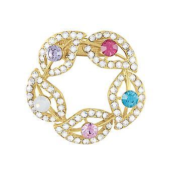Éternelle Collection honneur Multi couleur Crystal Garland doré écharpe Clip