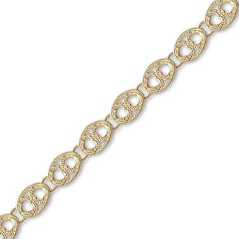 Jewelco London Ladies Solid 9ct Yellow Gold Hand Assembled Oval Link Hearts 10mm Gauge Chain Necklace