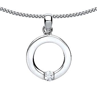 Jewelco London Ladies Rhodium Plated Silver White Round Brilliant cubic Zirconia Solitaire Halo Charm Necklace 18 inch