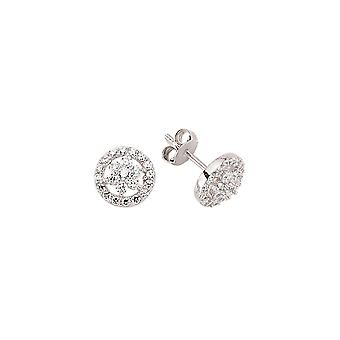 Jewelco London Rhodium Plated Sterling Silver Round Brilliant Cubic Zirconia Daisy Halo Stud Earrings
