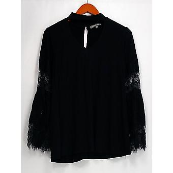 Kate & Mallory Top Long Sleeve Cut Out Front Detail Lace Trim Black A436378