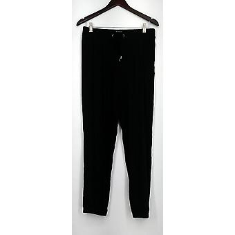 H by Halston Pants Two Pocket Knit Pull-On Drawstring Black A269438
