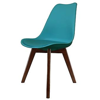 Fusion Living Eiffel Inspiré Teal Plastic Dining Chair with Squared Dark Wood Legs Fusion Living Eiffel Inspiré Sarcelle Chaise à manger en bois foncé