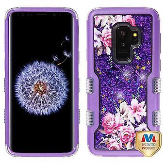 MYBAT lila/romantisk kärlek blommor & lila gnistrar TUFF Quicksand glitter hybrid Case för Galaxy S9 plus