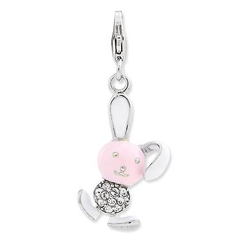 925 Sterling Silver Rhodium plated Fancy Lobster Closure Enameled 3 d Bunny With Lobster Clasp Charm Pendant Necklace Je