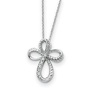 925 Sterling Silver Polished Spring Ring CZ Cubic Zirconia Simulado Diamante Religious Faith Cross Colar 18 Polegadas Jewe
