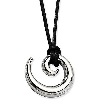 Stainless Steel Barrel Polished Swirl 24inch Cord Necklace - 22 Inch