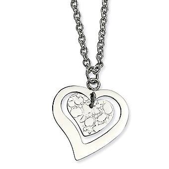 Ruostumaton teräs kuvioitu kiillotettu fancy hummeri sulkeminen rakkaus sydän extender kaulakoru 18 tuuman korut lahjat Wome