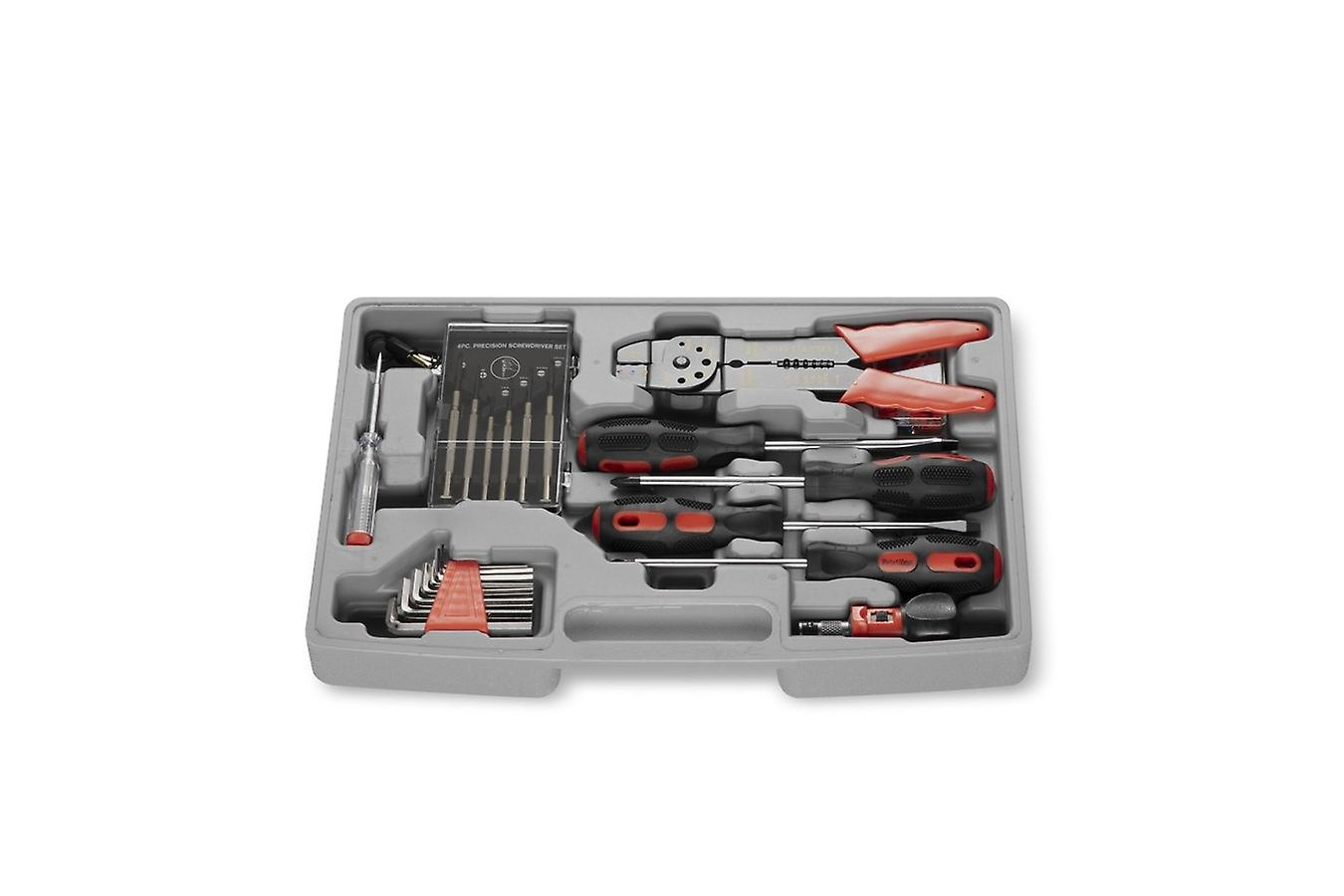 WOLFGANG Toolbox Professional with handle, large toolbox filled with wrench, socket set, pliers, screwdriver set, 105 parts, 4 drawers