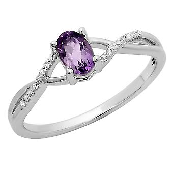 Dazzlingrock Collection 10K 6X4 MM Amethyst & White Diamond Bridal Swirl Engagement Promise Ring, White Gold