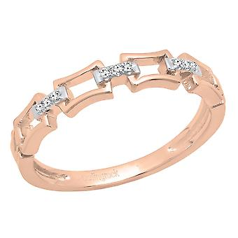 Dazzlingrock Collection 0.03 Carat (ctw) 10K Round Diamond Ladies Chain Link Wedding Band, Rose Gold