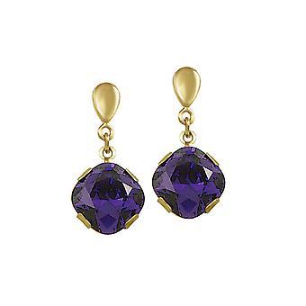 Eternal Collection Flair Purple Velvet Autrichien Crystal Gold Tone Drop Screw Back Clip On Earrings