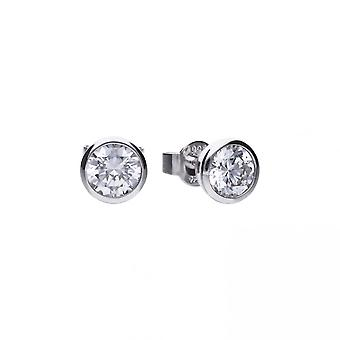 Diamonfire Silver White Zirconia Solitaire Earrings E5619