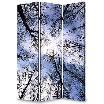 "1"" x 48"" x 72"" Multi Color Wood Canvas Forest  Screen"