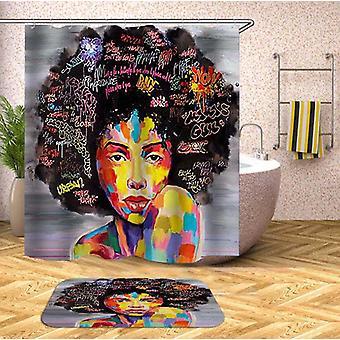 Afro Hair Gorgeous Black Woman Shower Curtain