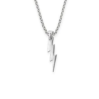 "Folklore Inspired Lightning Bolt Shaped Necklace Pendant - Includes A 16"" Silver Chain"