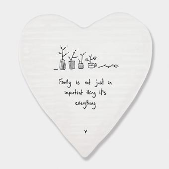 East of India Heart Porcelain Coaster Family is Everything Keepsake Gift