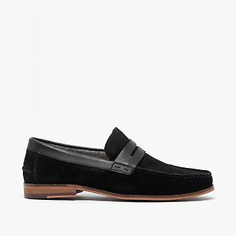 Silver Street London Ancona Mens Suede Loafers Black
