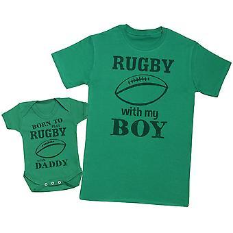 Født til å spille rugby med pappa matchende far baby Gift Set-mens T skjorte & baby Body