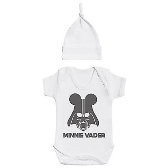 Minnie vader, witte Baby Romper, witte baby Tietop hoed, baby outfit