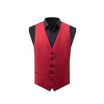 Dobell Mens Red Waistcoat Slim Fit