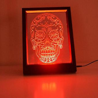 Tag der Toten Candy Skull Farbwechsel RC LED Spiegel LightFrame