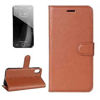 Für iPhone XS, X Brieftasche Fall, Gestylte Lychee Flip Schutz ledern E-Leder-Abdeckung, braun