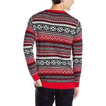 Blizzard Bay Men's Ugly Christmas Sweater Sloths, Red/Black, Medium