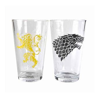 Game Of Thrones Glass Stark and Lannister Sigils Official Large Boxed 2 pack