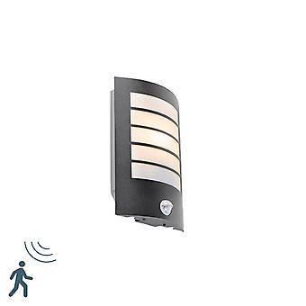 QAZQA Exterior wall light black IP44 with motion sensor - Miro
