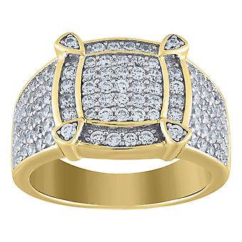 925 Sterling Silver Mens Two tone CZ Cubic Zirconia Simulated Diamond Square Head Cluster Band Ring Jewelry Gifts for Me