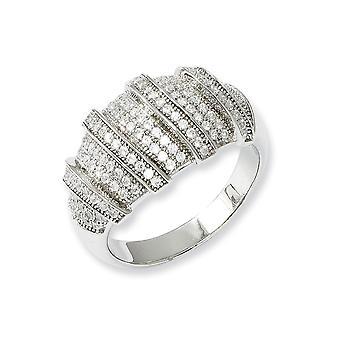 925 Sterling Silber und CZ Zirkonia simuliert Diamant poliert Fancy Ring Größe 8 Schmuck Geschenke für Frauen