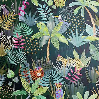 Ukryta jungle tapety zielony / Multi Arthouse 907604