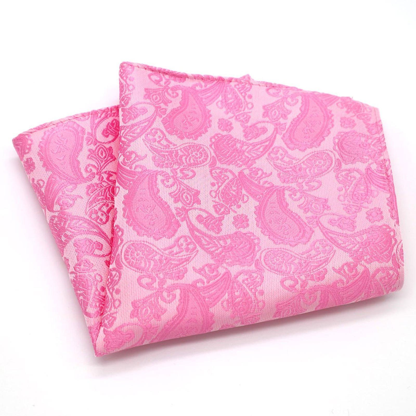 Bright pink paisley wedding groom party pocket square