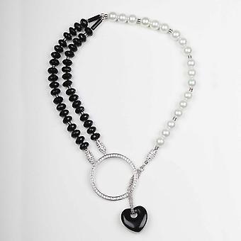 Nour London Choker Style Onyx Heart Necklace