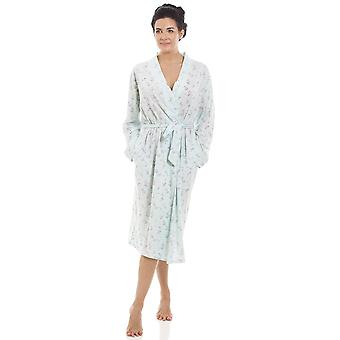 Camille Ladies Mint Floral Print Jersey Knit Cotton Dressing Gown