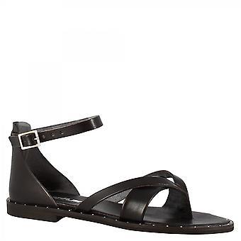Leonardo Sko Kvinner's håndlagde lav thong sandaler i svart kalv skinn