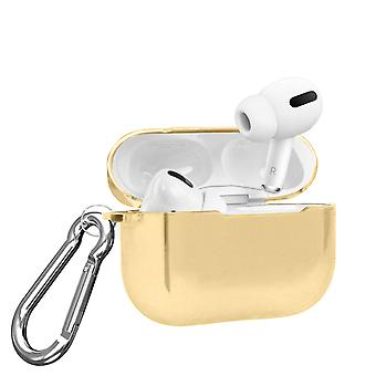 Rigid Polycarbonate Airpods Pro Case with Metallic Mirror Effect Carabiner- Gold