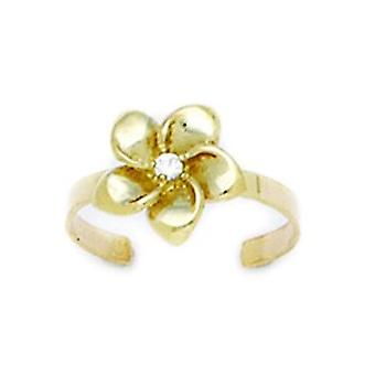 14k Yellow Gold Adjustable Flower Body Jewelry Toe Ring Jewelry Gifts for Women