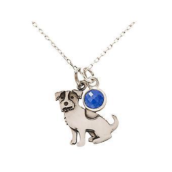 Ketting Jack Russell Terrier hond hanger 925 zilver, verguld, roos, saffier