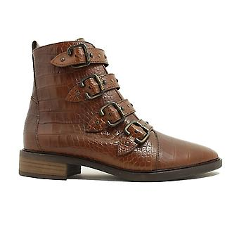 Paul Green 9396-09 Brown Crocodile Textured Leather Womens Biker Style Ankle Boots