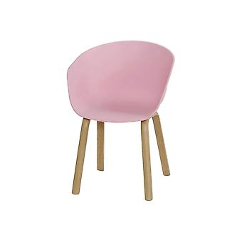 Fusion Living Eiffel Inspired Light Pink Plastic Armchair With Light Wood Legs