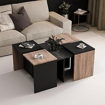 Couchtisch' Owen Black Color, Holz in Melaminic Chip 88x74x12.2 cm