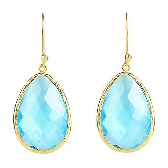 925 Sterling sølv dingle Drop længe guld øreringe Blå Topaz Crystal krog store