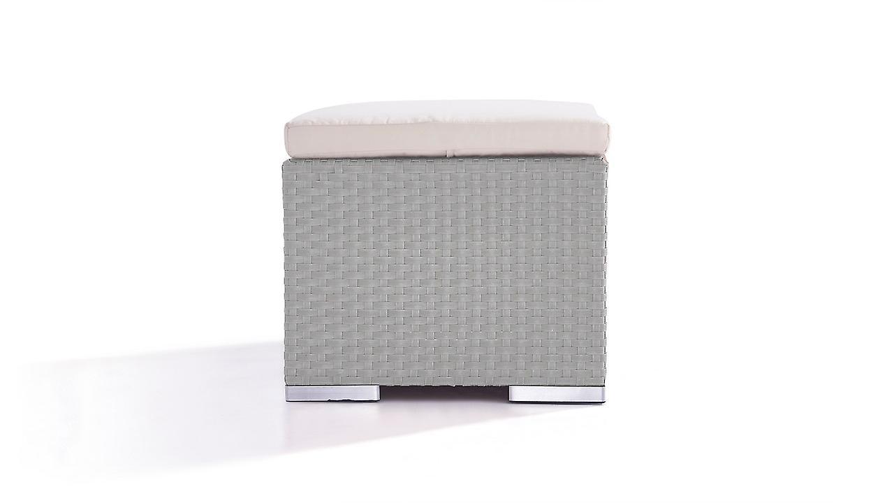 Polyrattan Cube Hocker 50 cm - grau satiniert