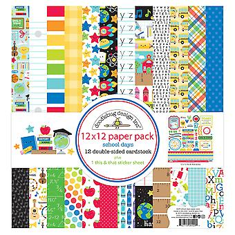"Doodlebug Double-Sided Paper Pack 12""X12"" 12/Pkg-School Days"